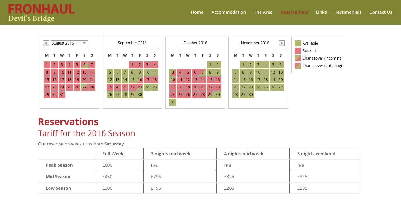 fronhaul reservations calendar