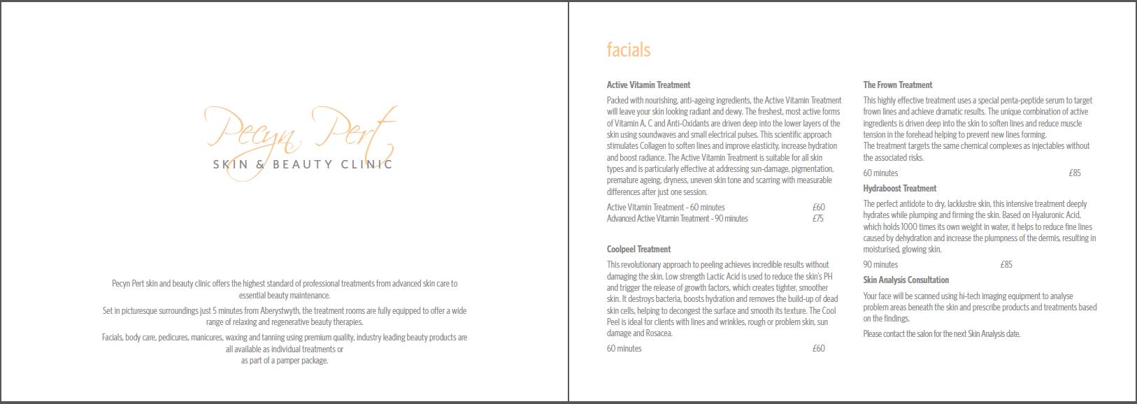 Pecyn Pert brochure